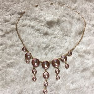 Light Pink and Gold Chandelier Necklace